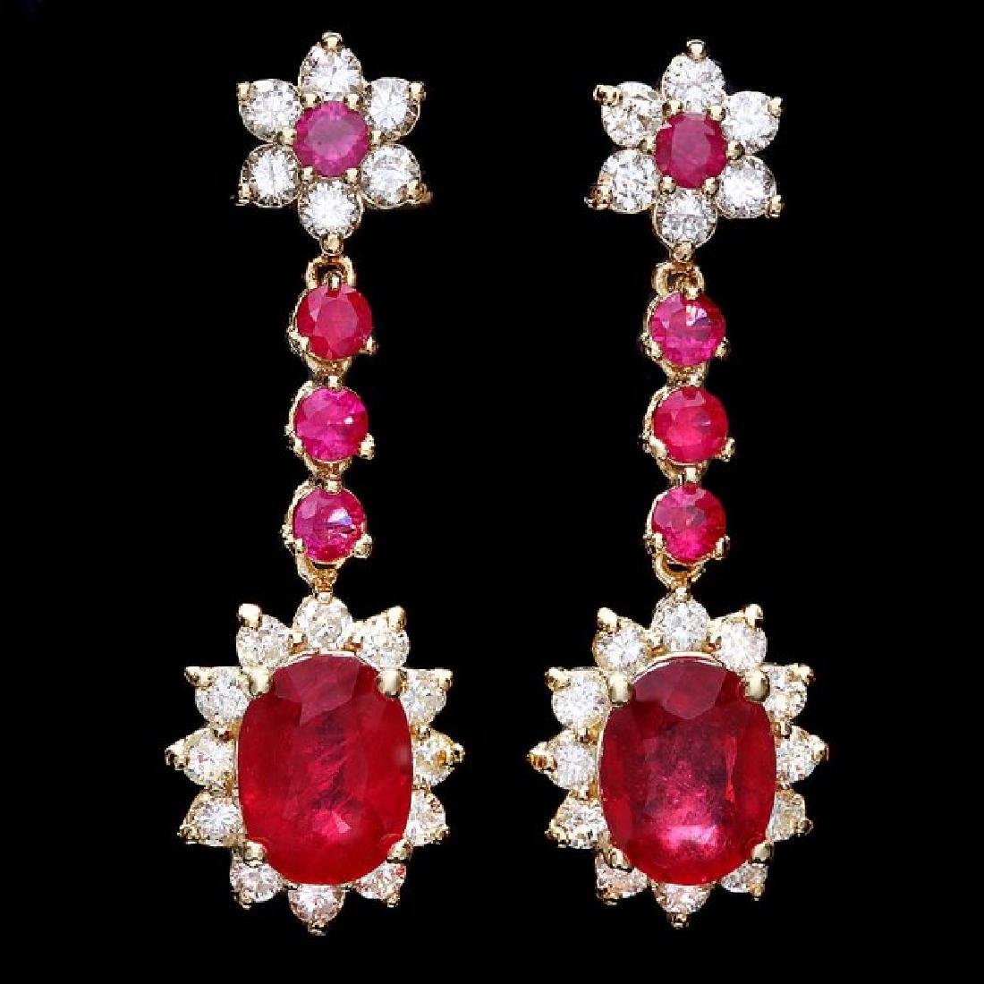 14k Yellow Gold 7ct Ruby 1.80ct Diamond Earrings