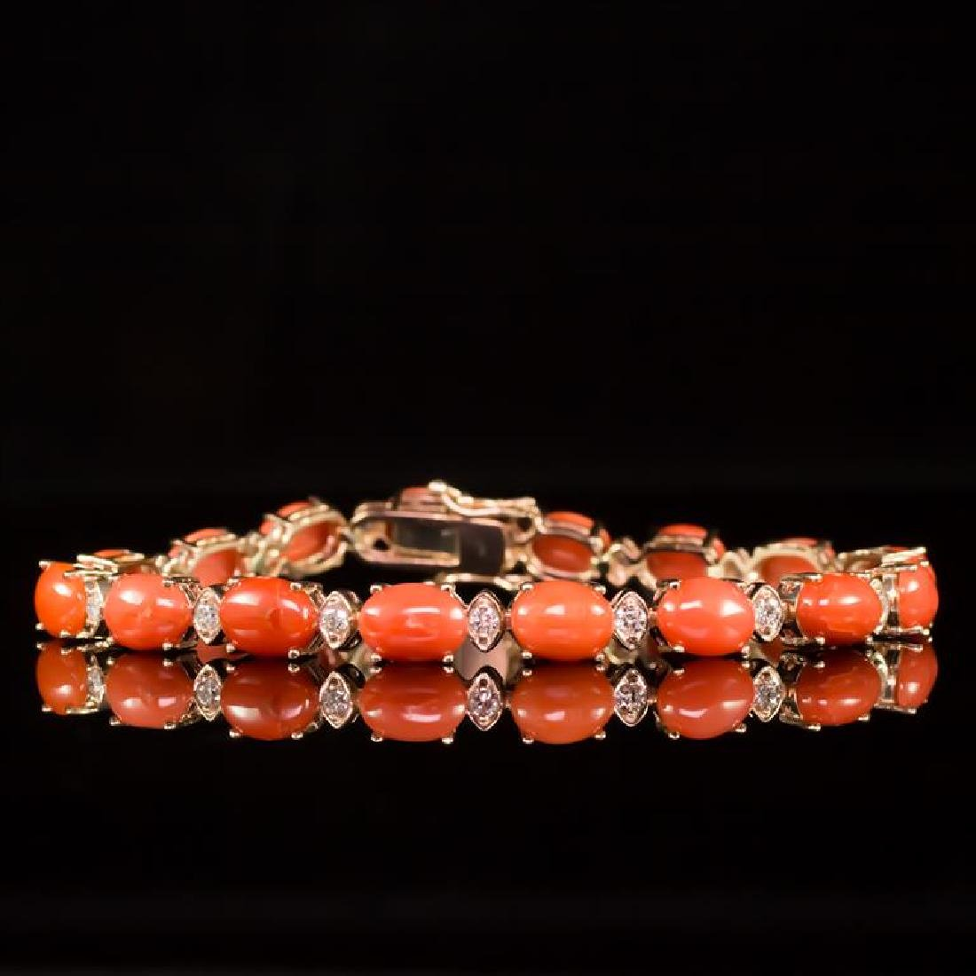 14K Gold 15.68ct Coral 0.80ct Diamond Bracelet