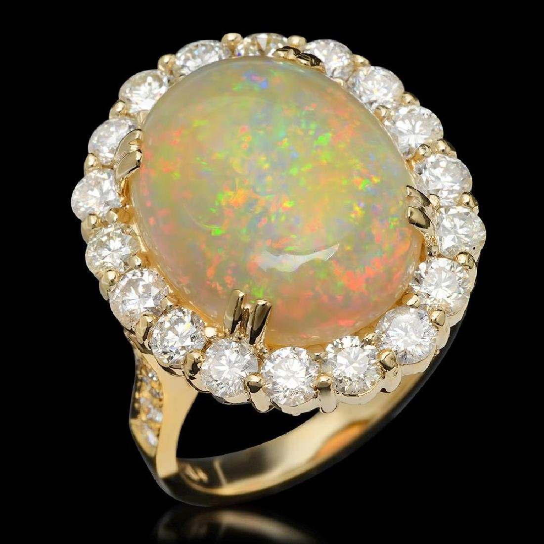 14K Gold 8.38ct Opal & 2.60ct Diamond Ring