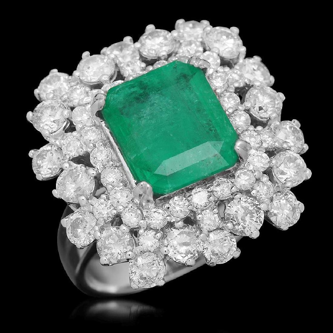 14K Gold 2.96 Emerald 2.81 Diamond Ring