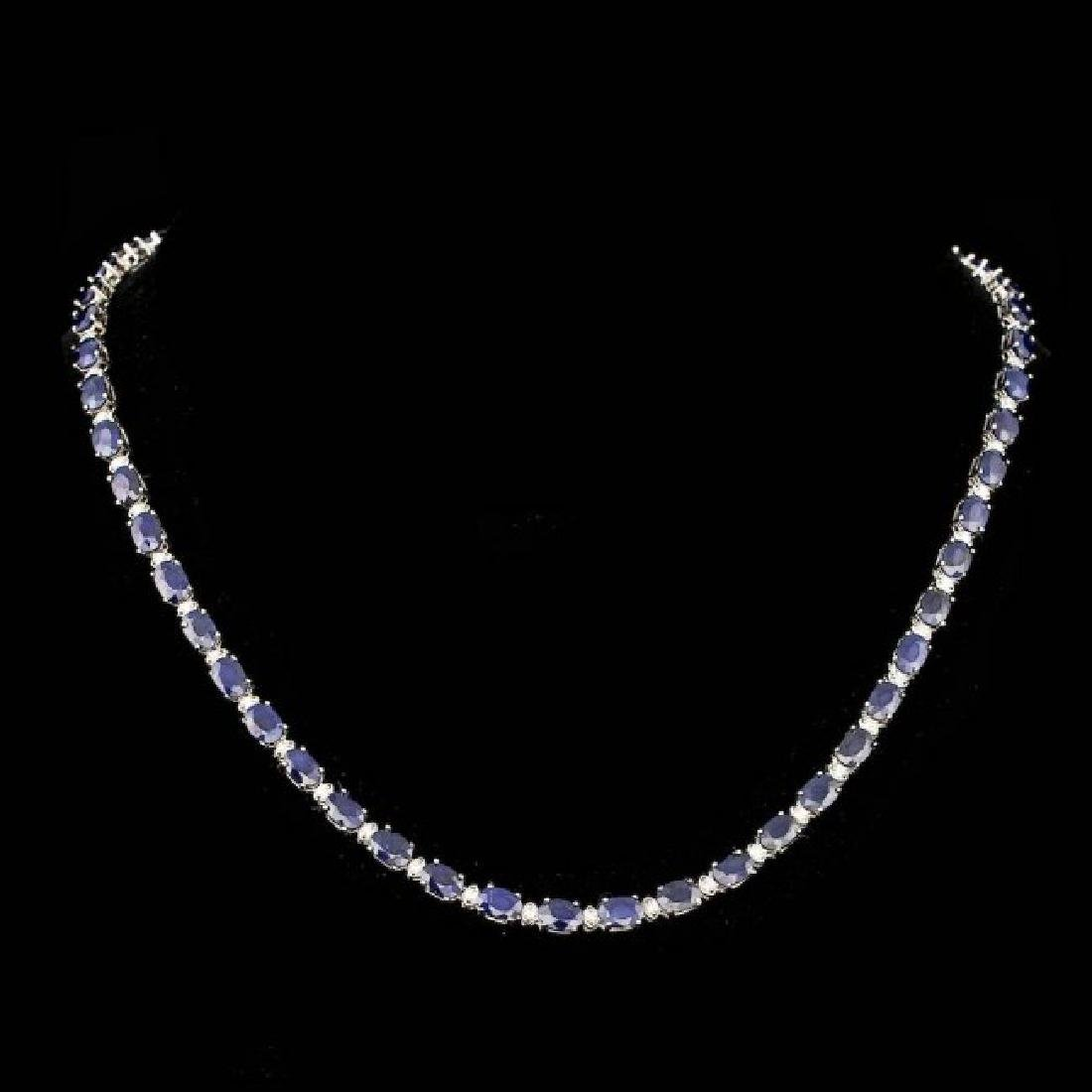 14k Gold 30.00ct Sapphire 1.35ct Diamond Necklace