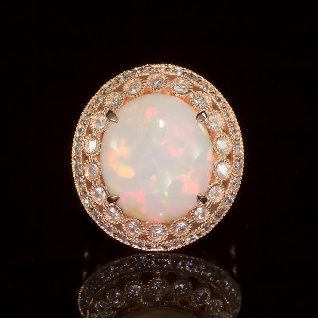 14K Gold 6.59ct Opal 1.55ct Diamond Ring