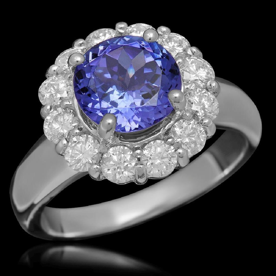 14K Gold 2.32ct Tanzanite 1.10ct Diamond Ring