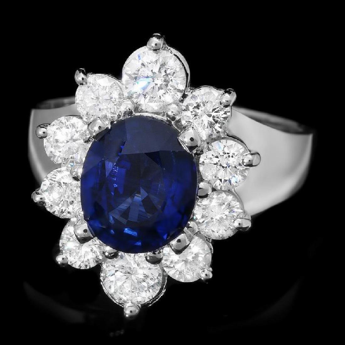 14k Gold 2.30ct Sapphire 1.50ct Diamond Ring