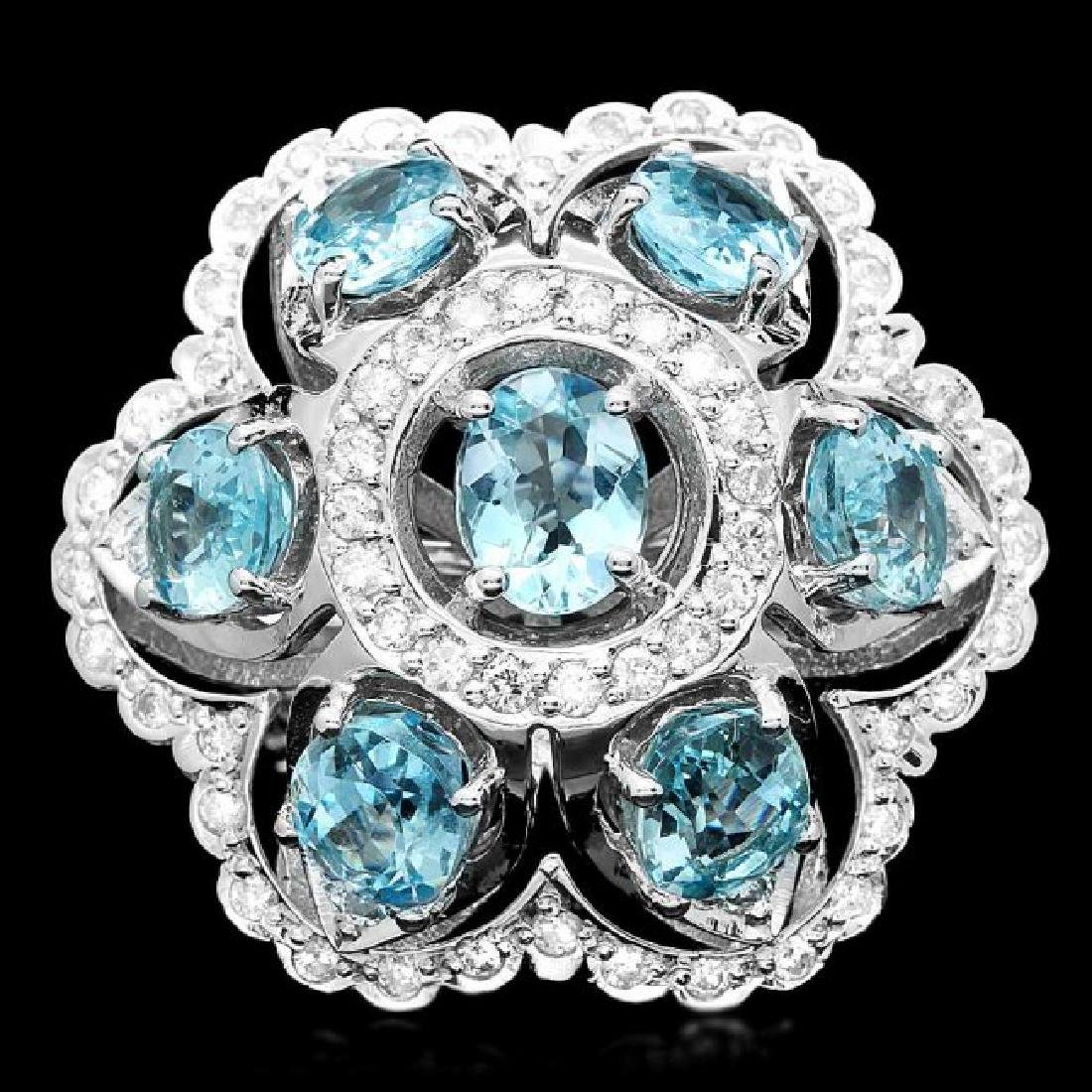 14k Gold 8.00ct Aquamarine 1.35ct Diamond Ring