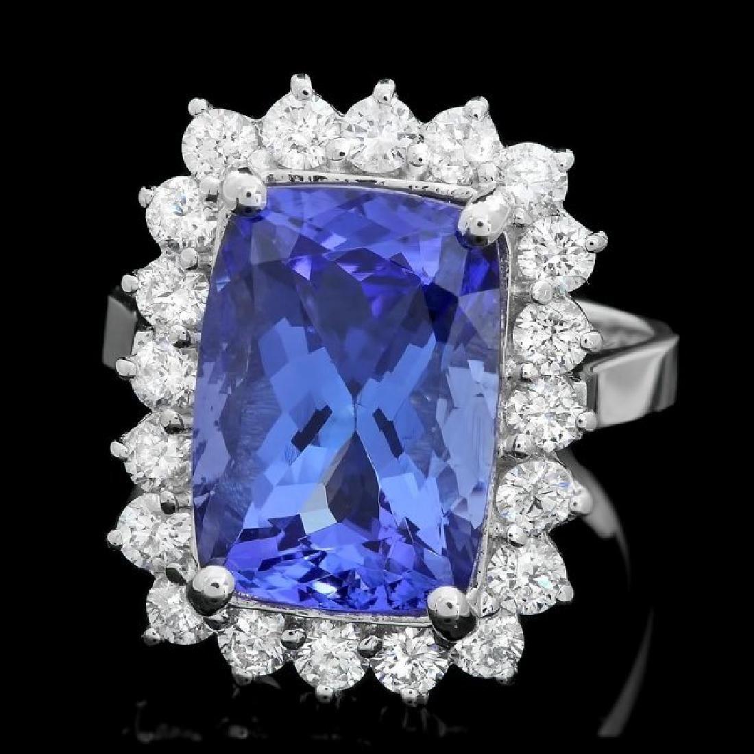 18k Gold 7.00ct Tanzanite 1.10ct Diamond Ring
