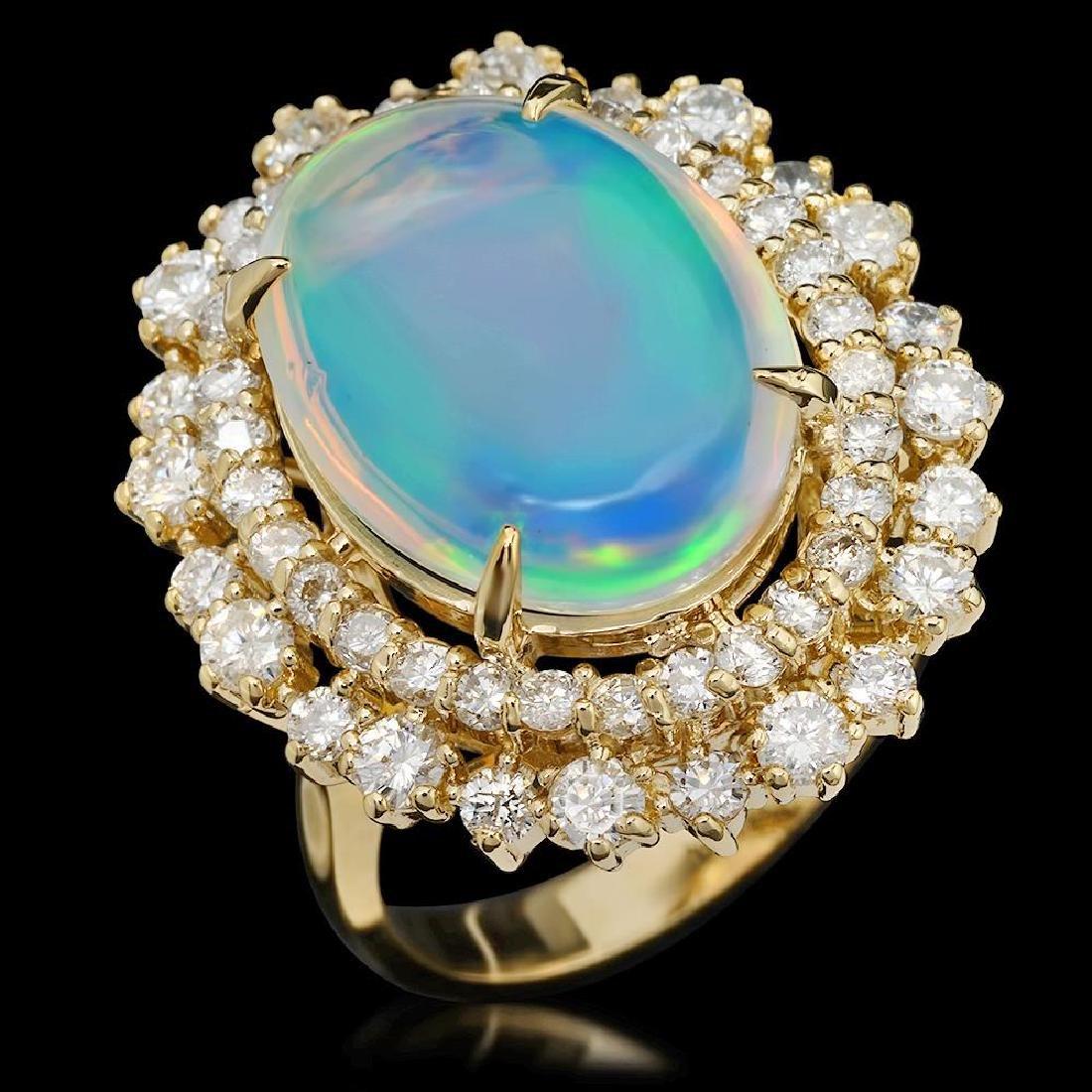 14K Gold 6.30ct Opal & 1.82ct Diamond Ring
