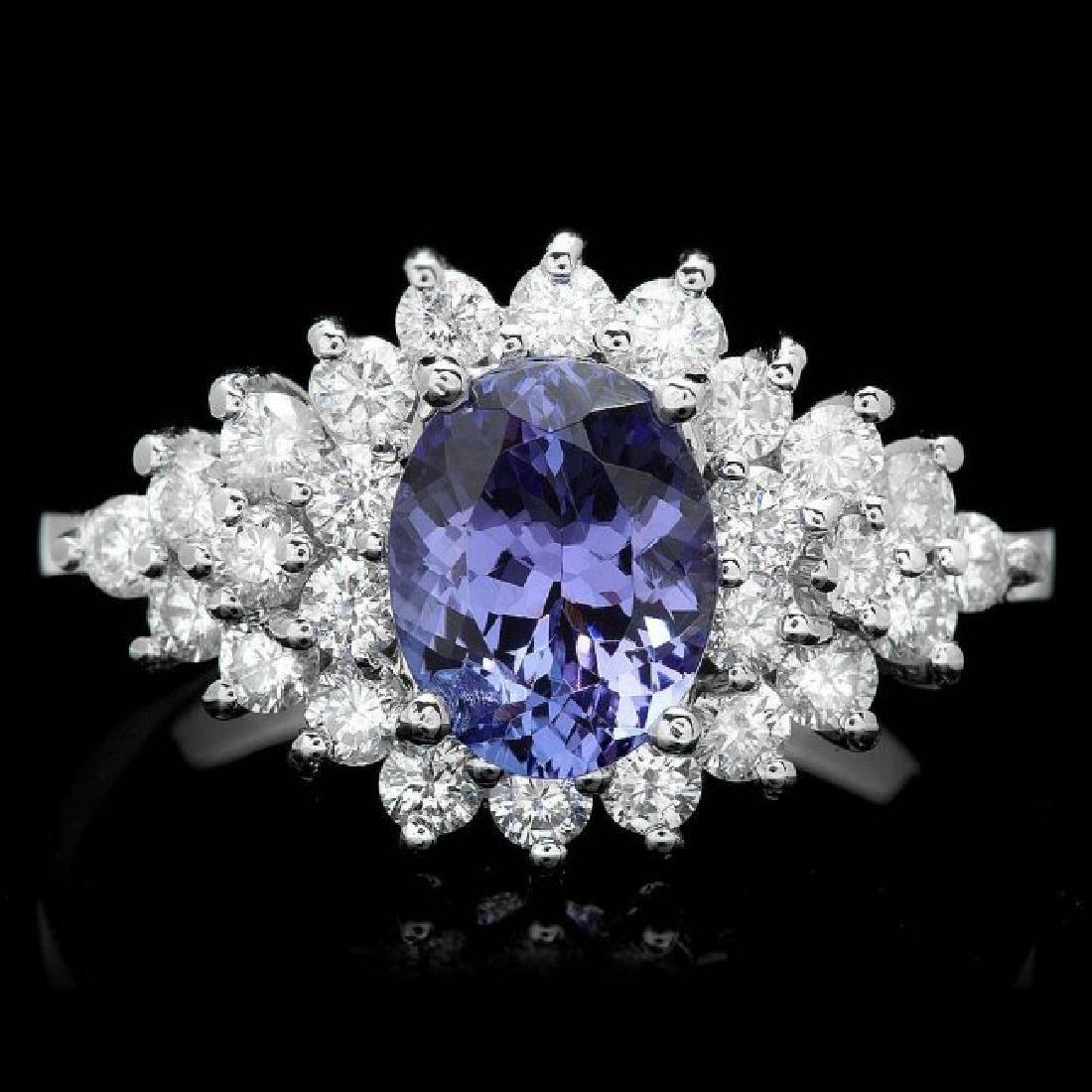 14k Gold 2.00ct Tanzanite 1.10ct Diamond Ring