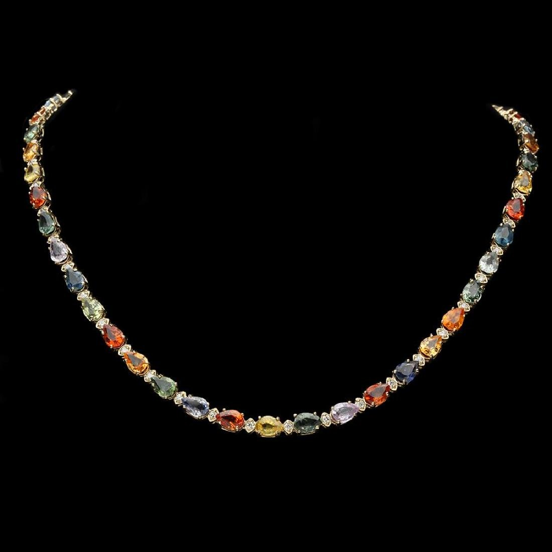 14K Gold 36.89ct Sapphire 1.51ct Diamond Necklace