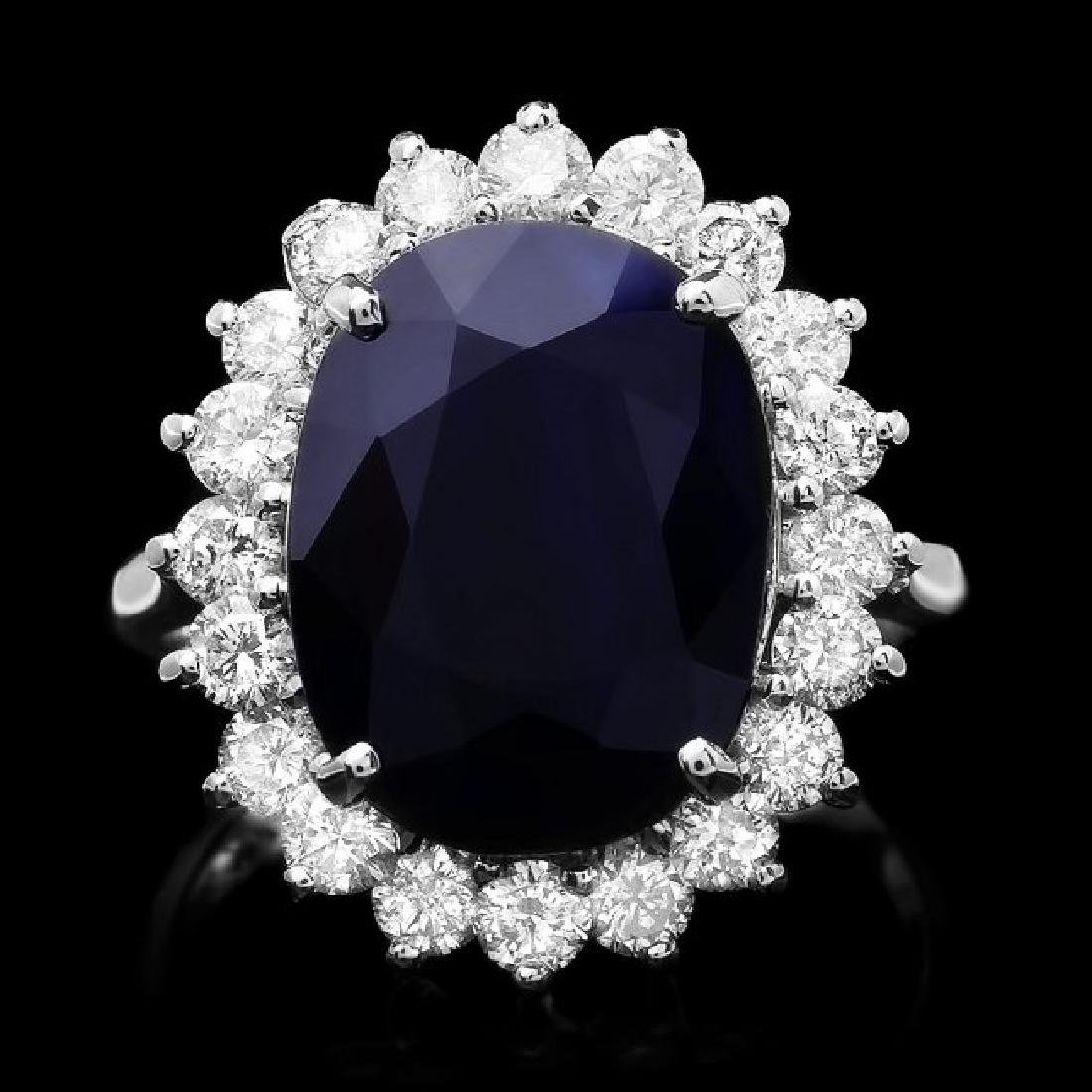 14k Gold 7.30ct Sapphire 1.30ct Diamond Ring