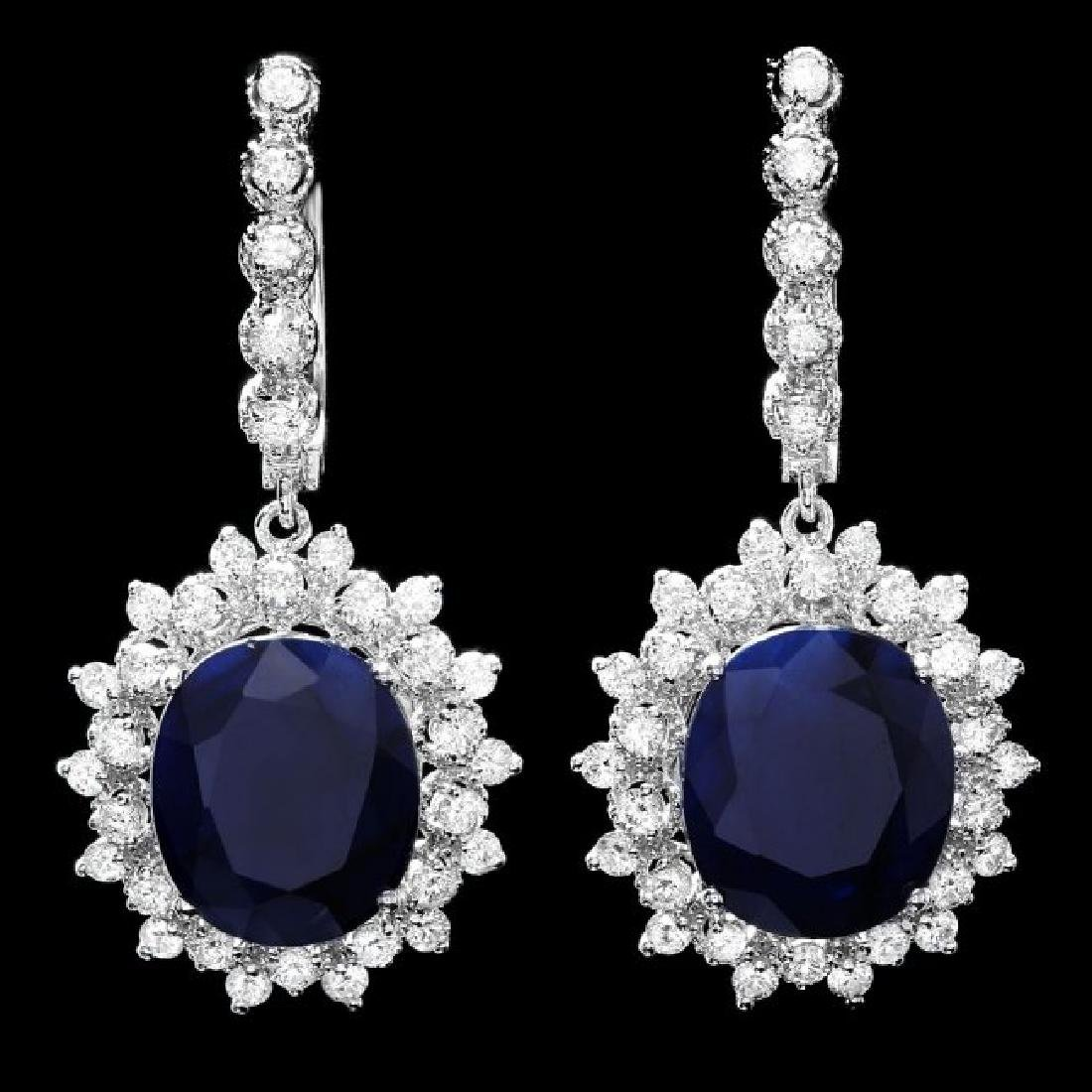 14k Gold 16.50ct Sapphire 2ct Diamond Earrings