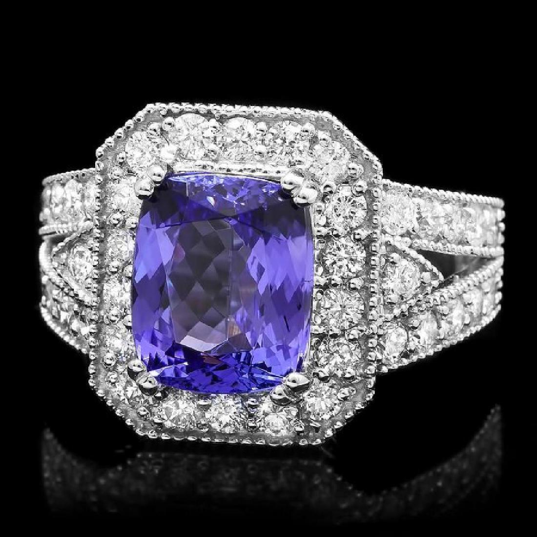 14k Gold 4.00ct Tanzanite 1.50ct Diamond Ring