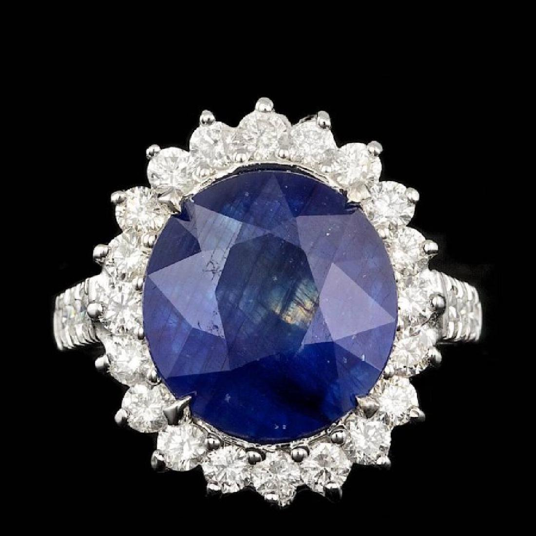 14k Gold 9.50ct Sapphire 1.35ct Diamond Ring