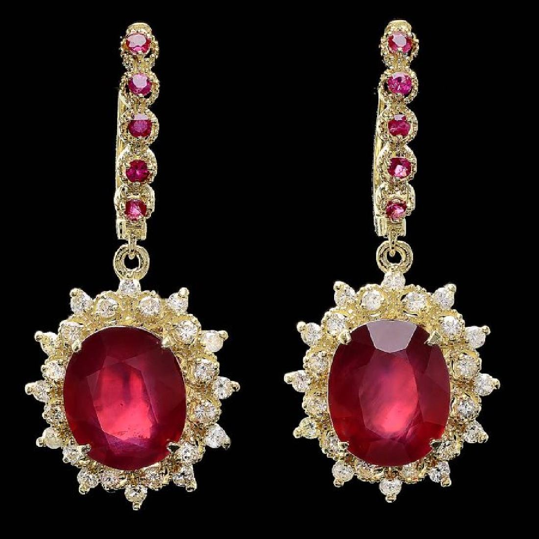 14k Gold 14.4ct Ruby 1.20ct Diamond Earrings