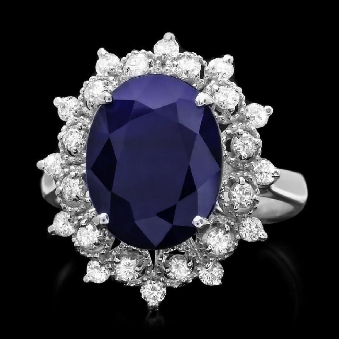 14k Gold 6.00ct Sapphire 0.55ct Diamond Ring