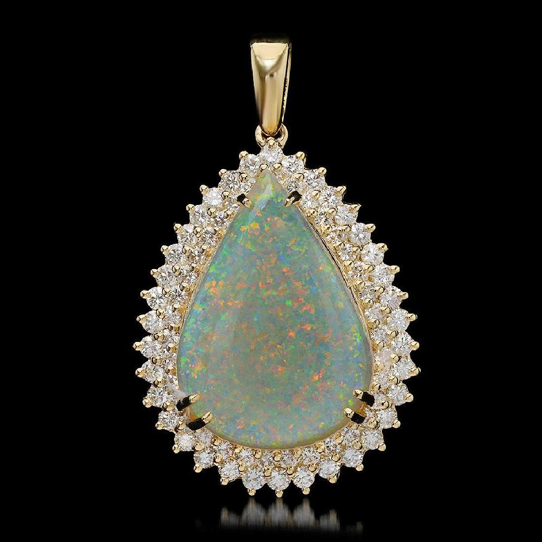 14K Gold 11.86ct Opal 2.35ct Diamond Pendant