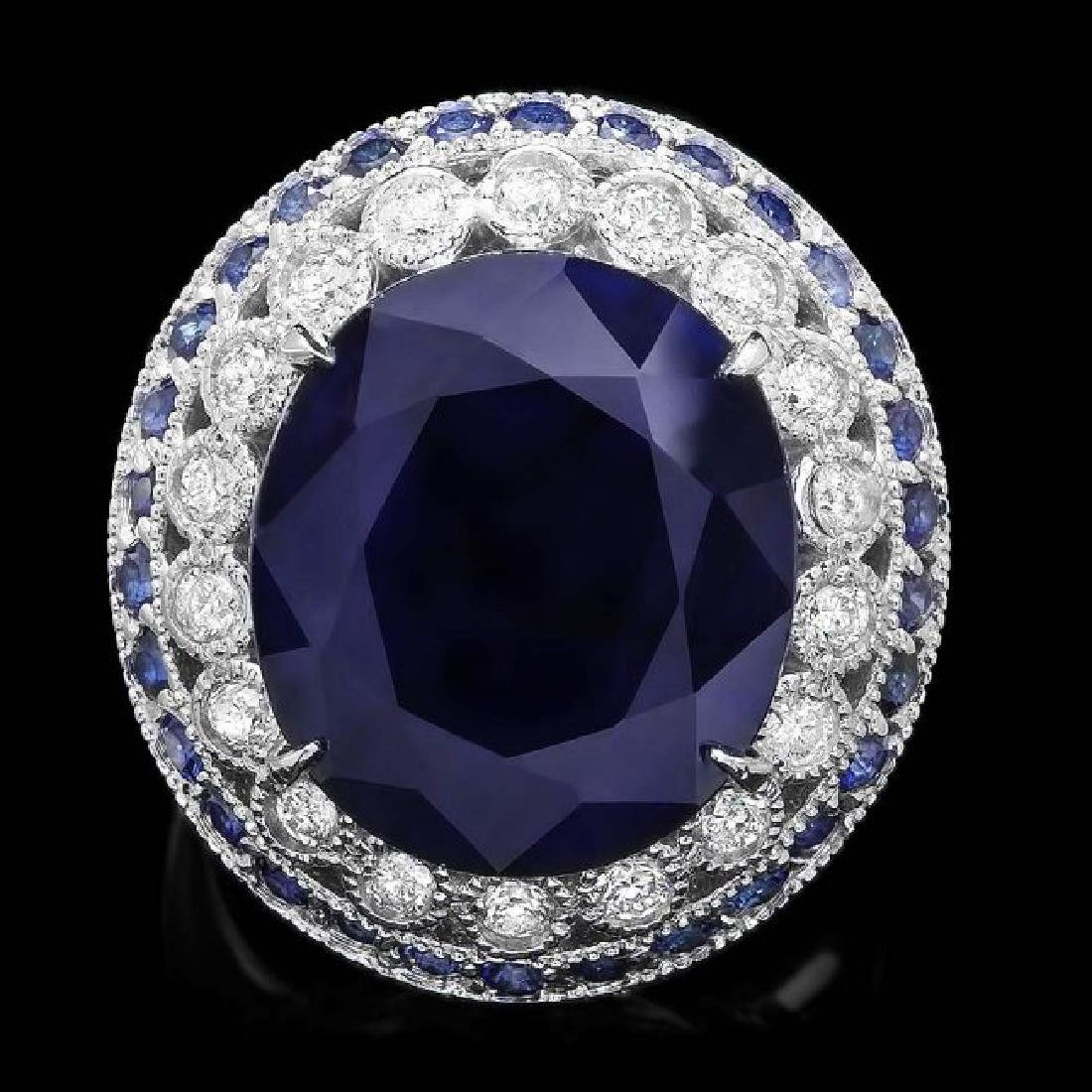 14k Gold 14.7ct Sapphire 0.80ct Diamond Ring