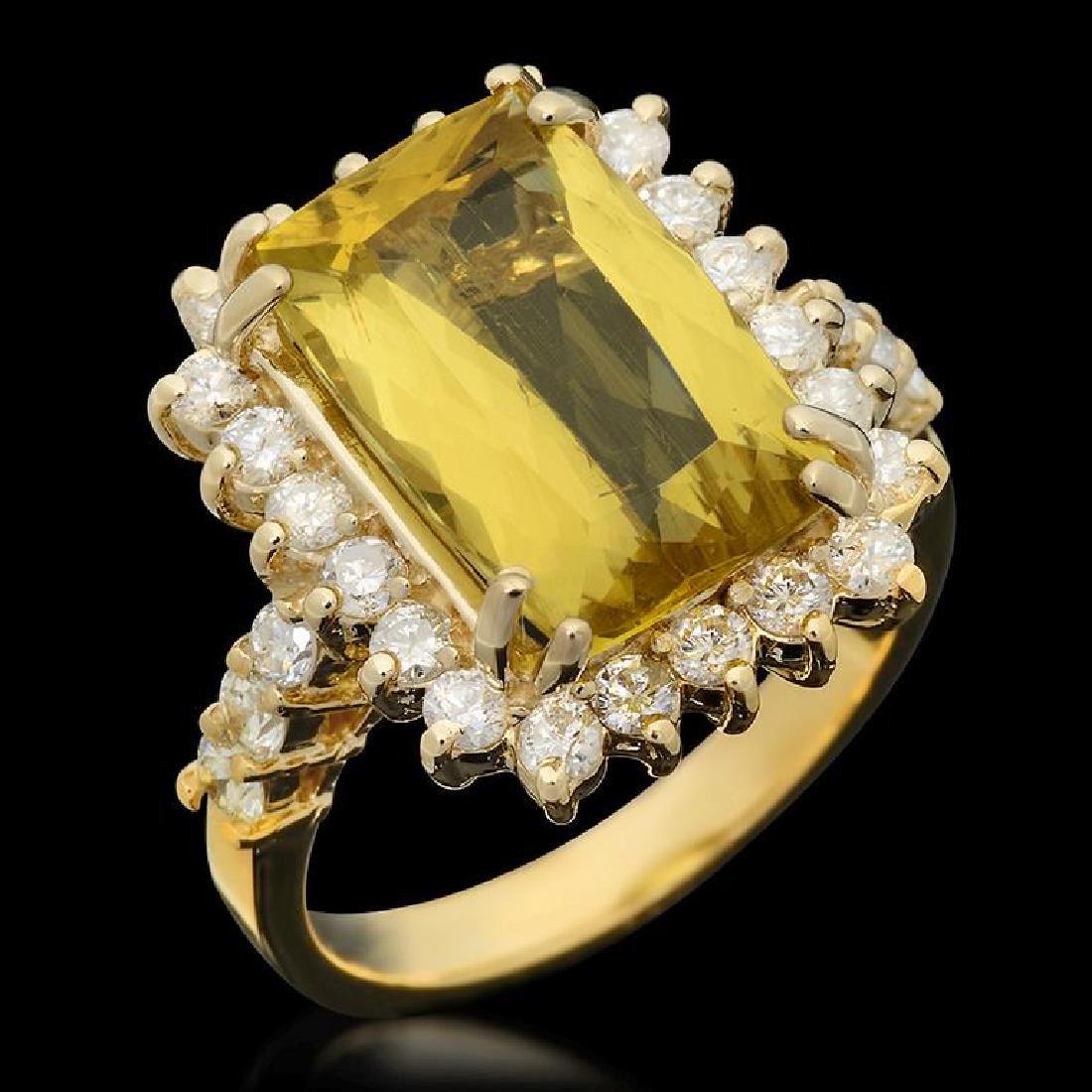 14k Gold 5.02ct Yellow Beryl 1.12ct Diamond Ring