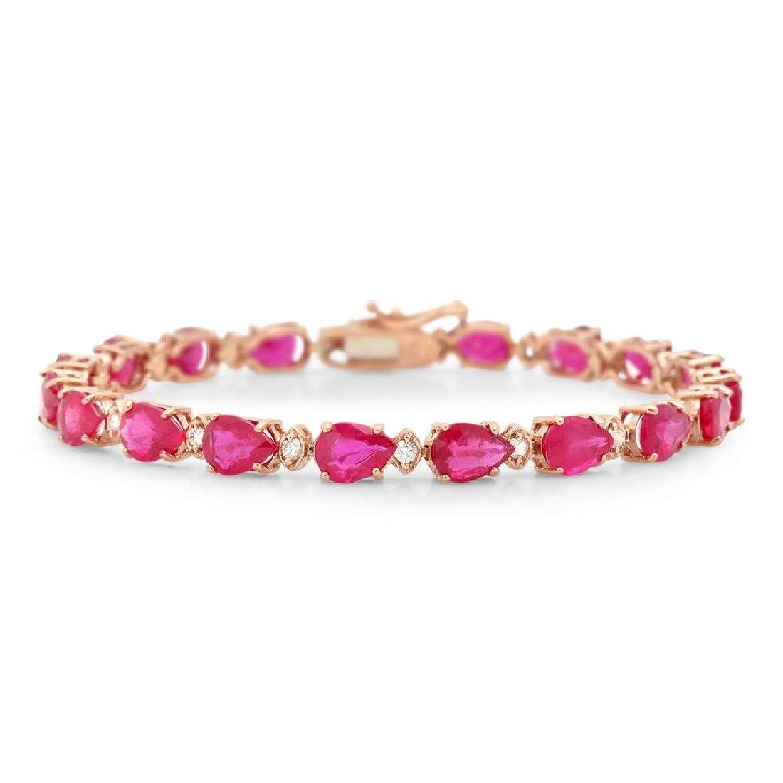 14K Gold 17.10ct Ruby 0.60cts Diamond Bracelet