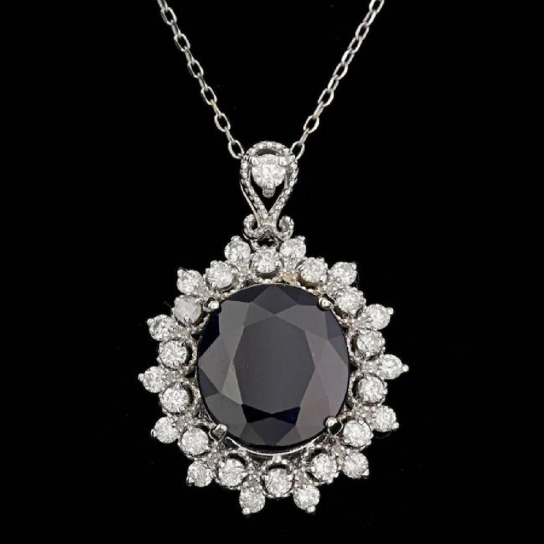 14k Gold 7.00ct Sapphire 0.85ct Diamond Pendant