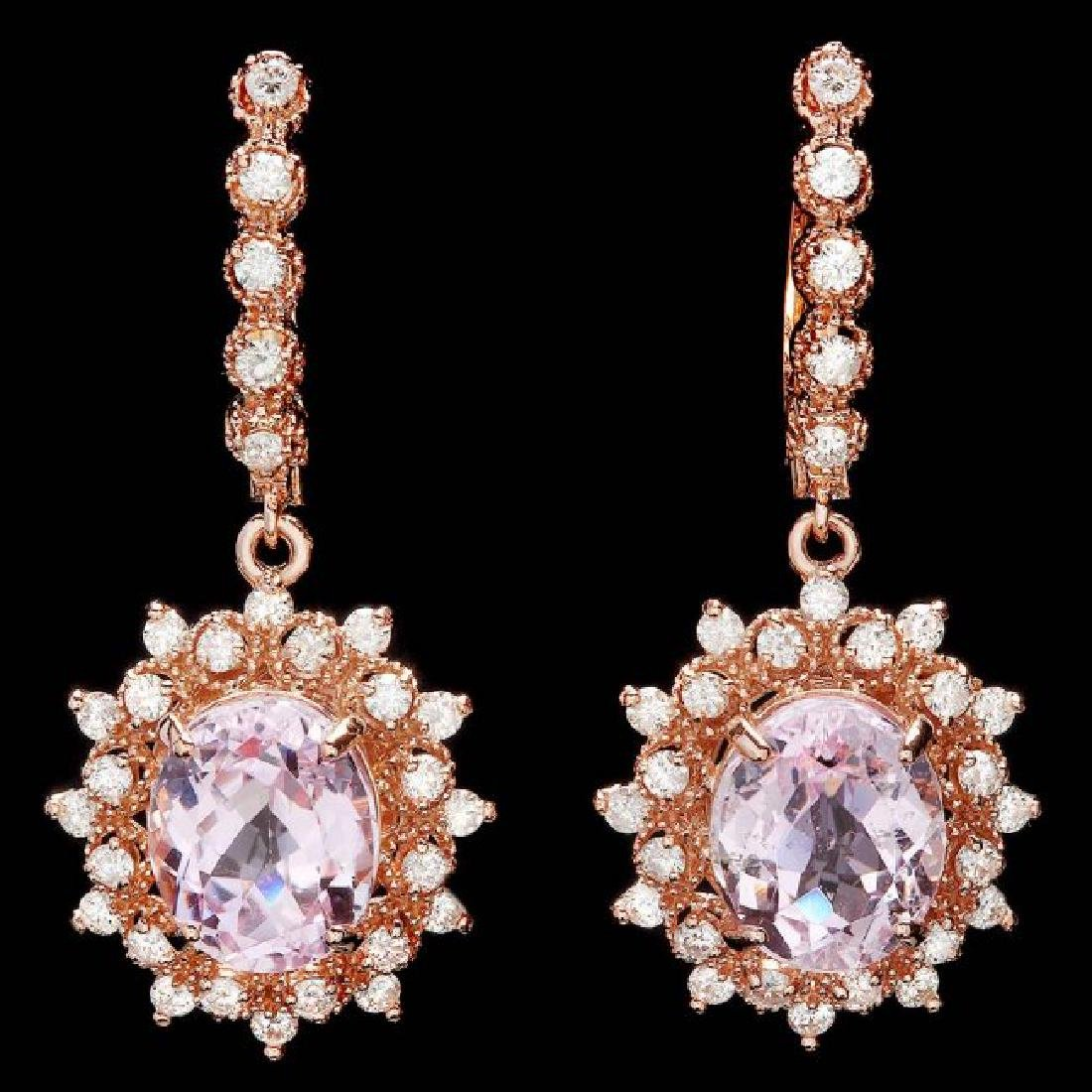 14k Rose 9.00ct Kunzite 1.60ct Diamond Earrings