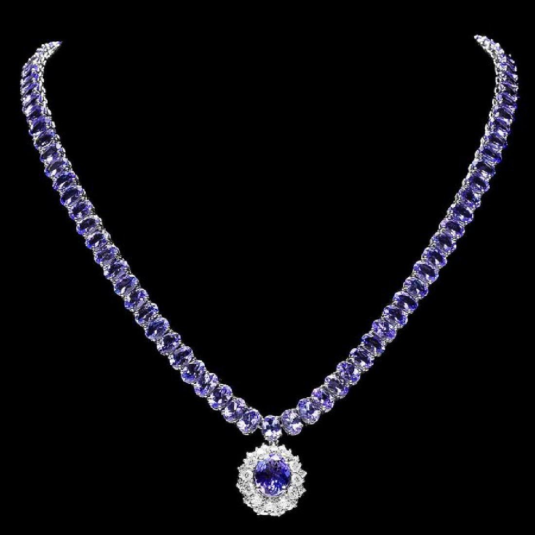 14k 45.25ct Tanzanite 1.35ct Diamond Necklace