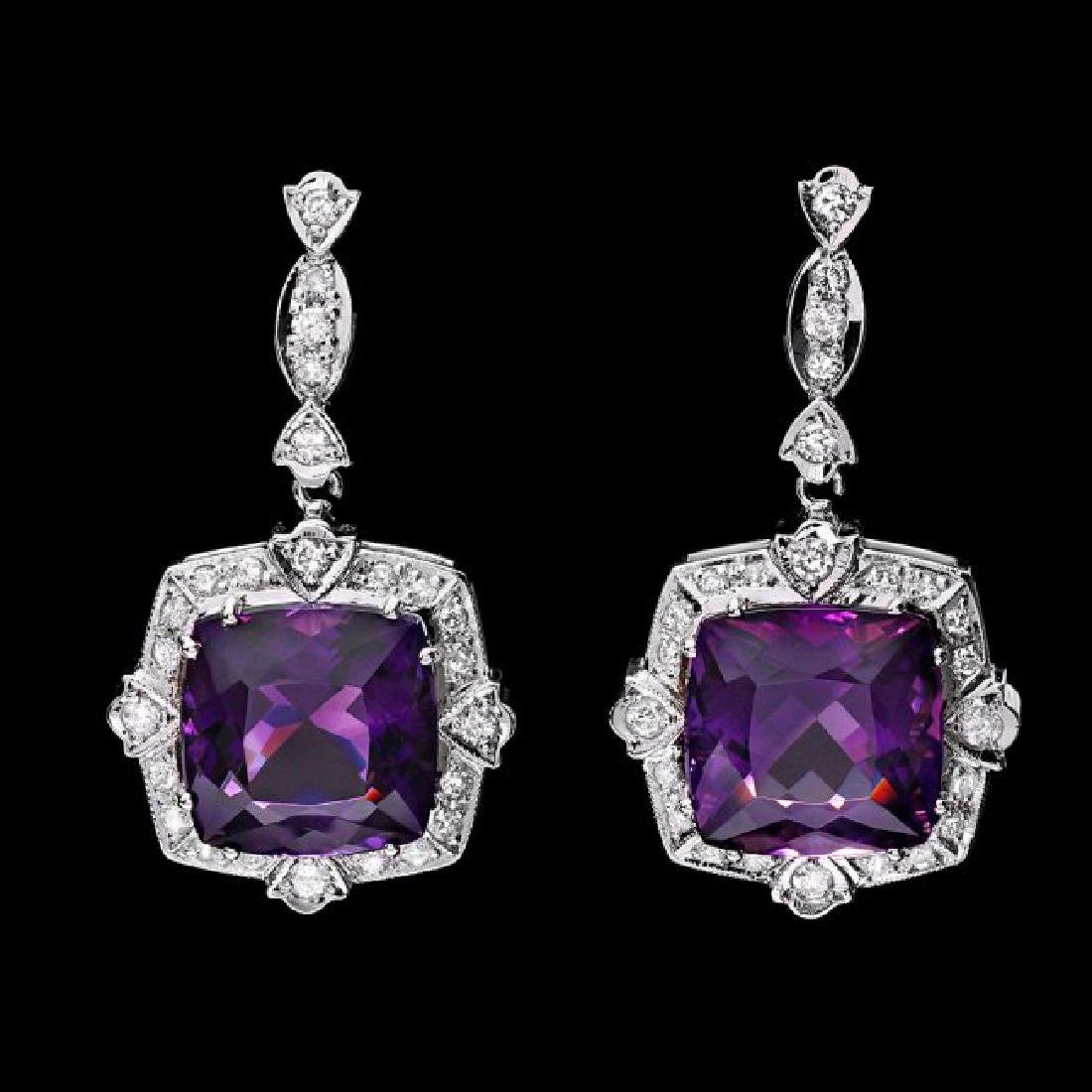 14k Gold 22ct Amethyst 1.75ct Diamond Earrings