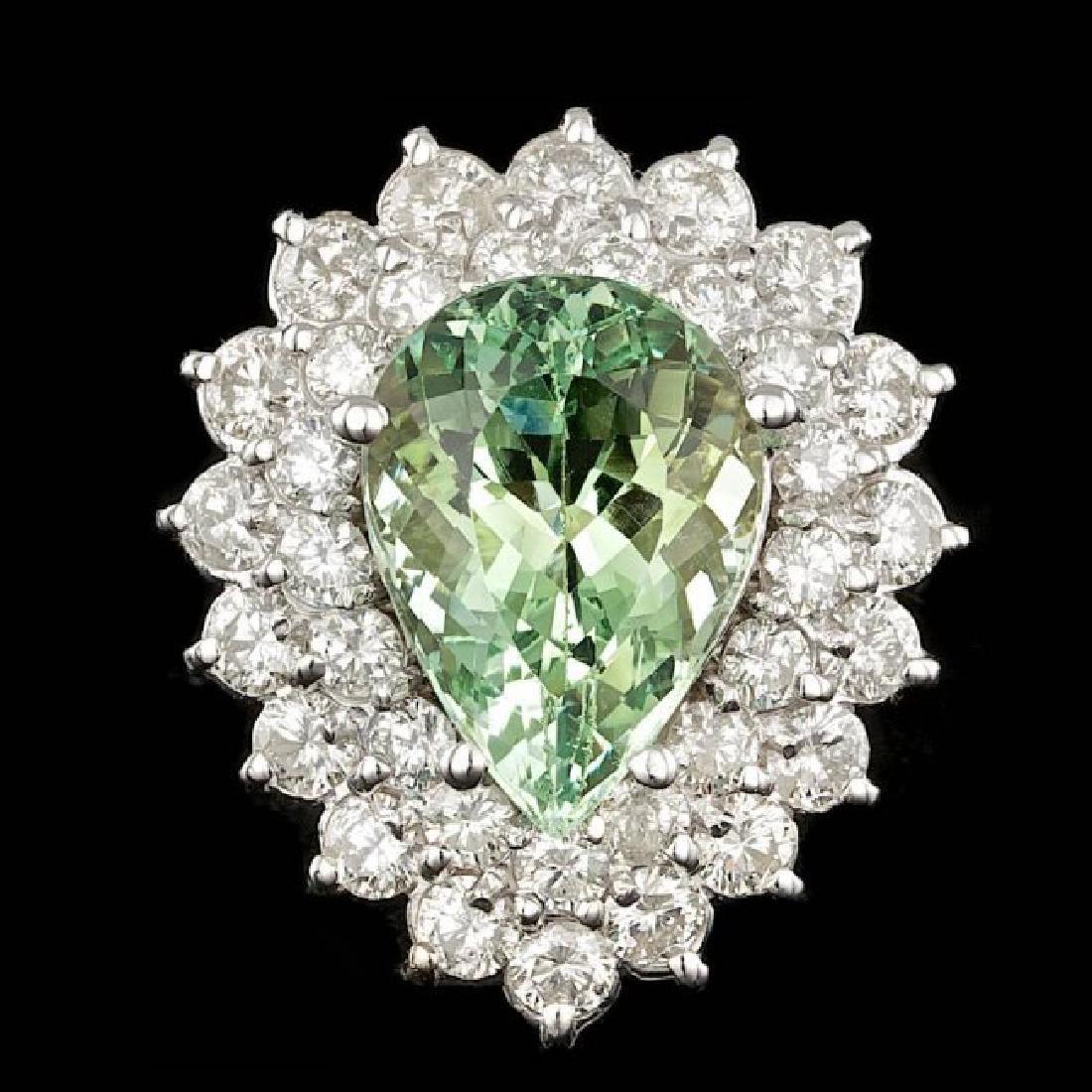14k White Gold 5.00ct Beryl 2.20ct Diamond Ring