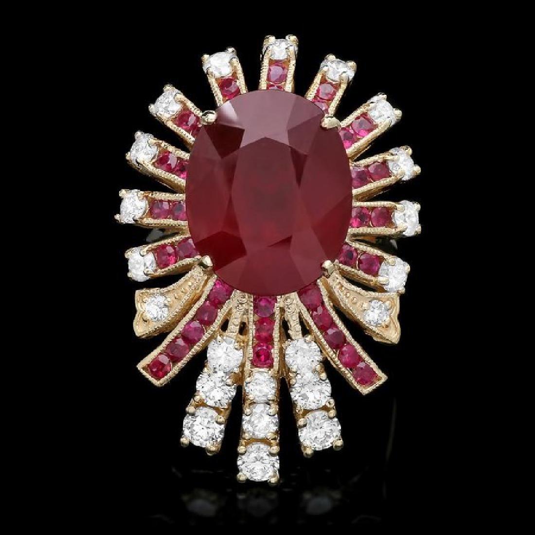 14k Yellow Gold 14ct Ruby 1.85ct Diamond Ring