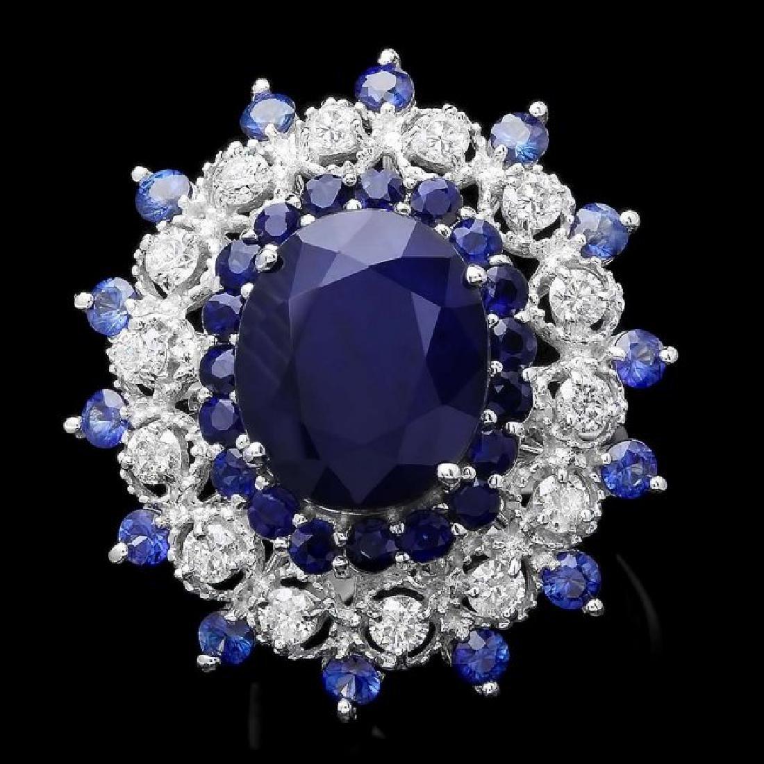14k White Gold 9ct Sapphire 0.90ct Diamond Ring