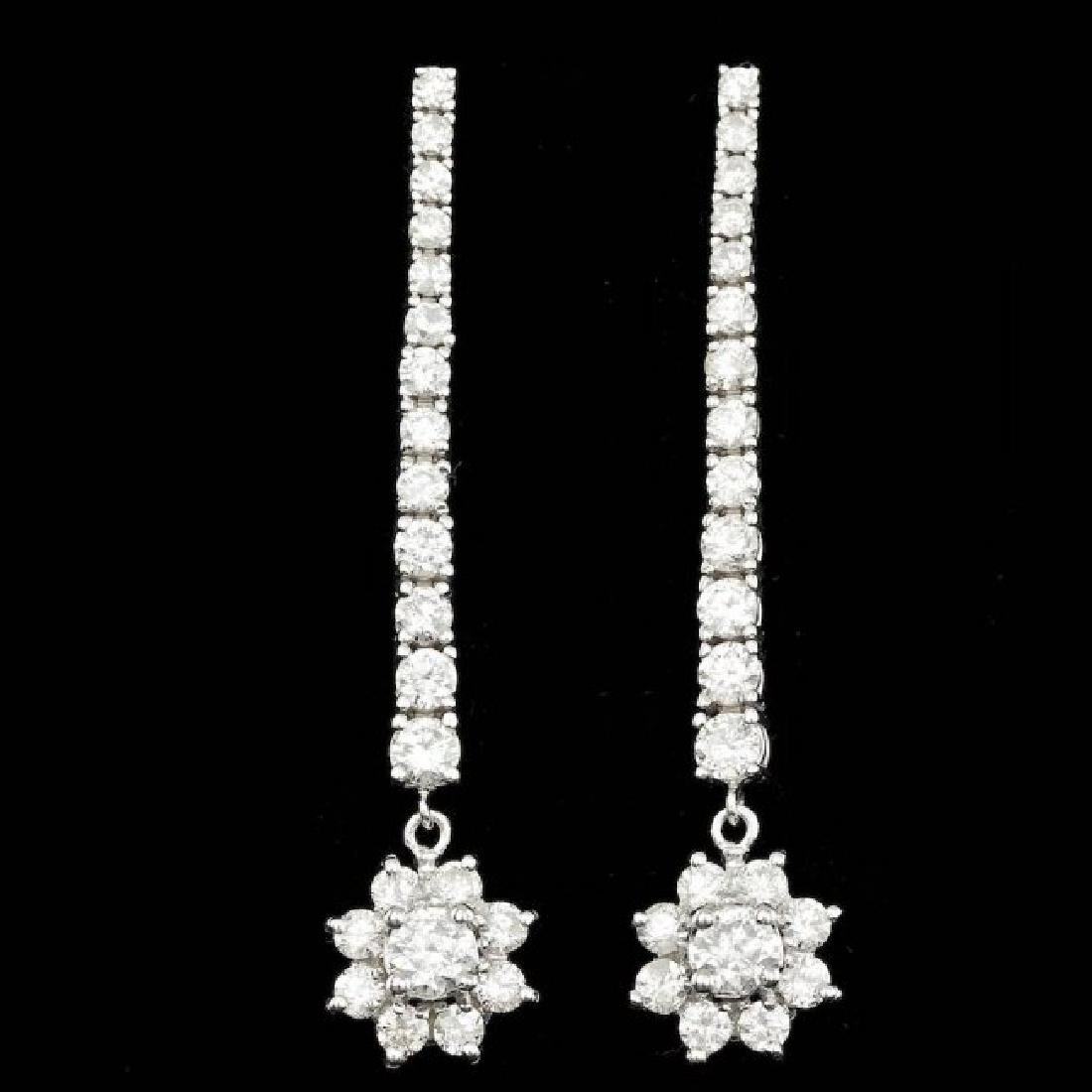 14k White Gold 3.65ct Diamond Earrings