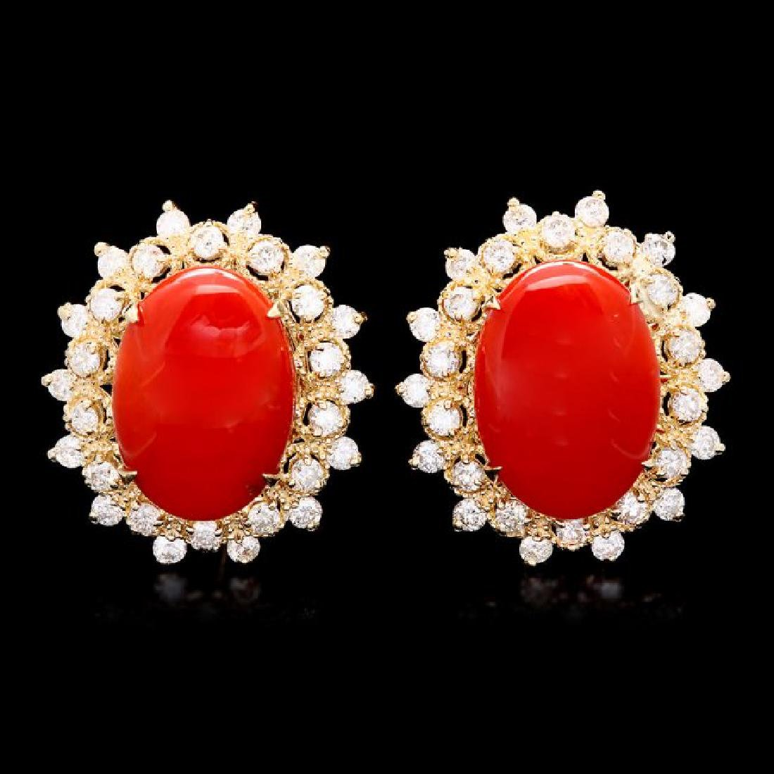14k Gold 8.00ct Coral 1.50ct Diamond Earrings