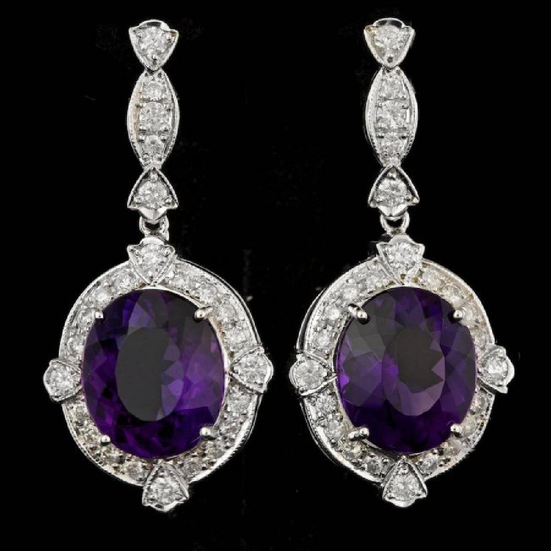 14k Gold 14.50ct Amethyst 1.80ct Diamond Earrings