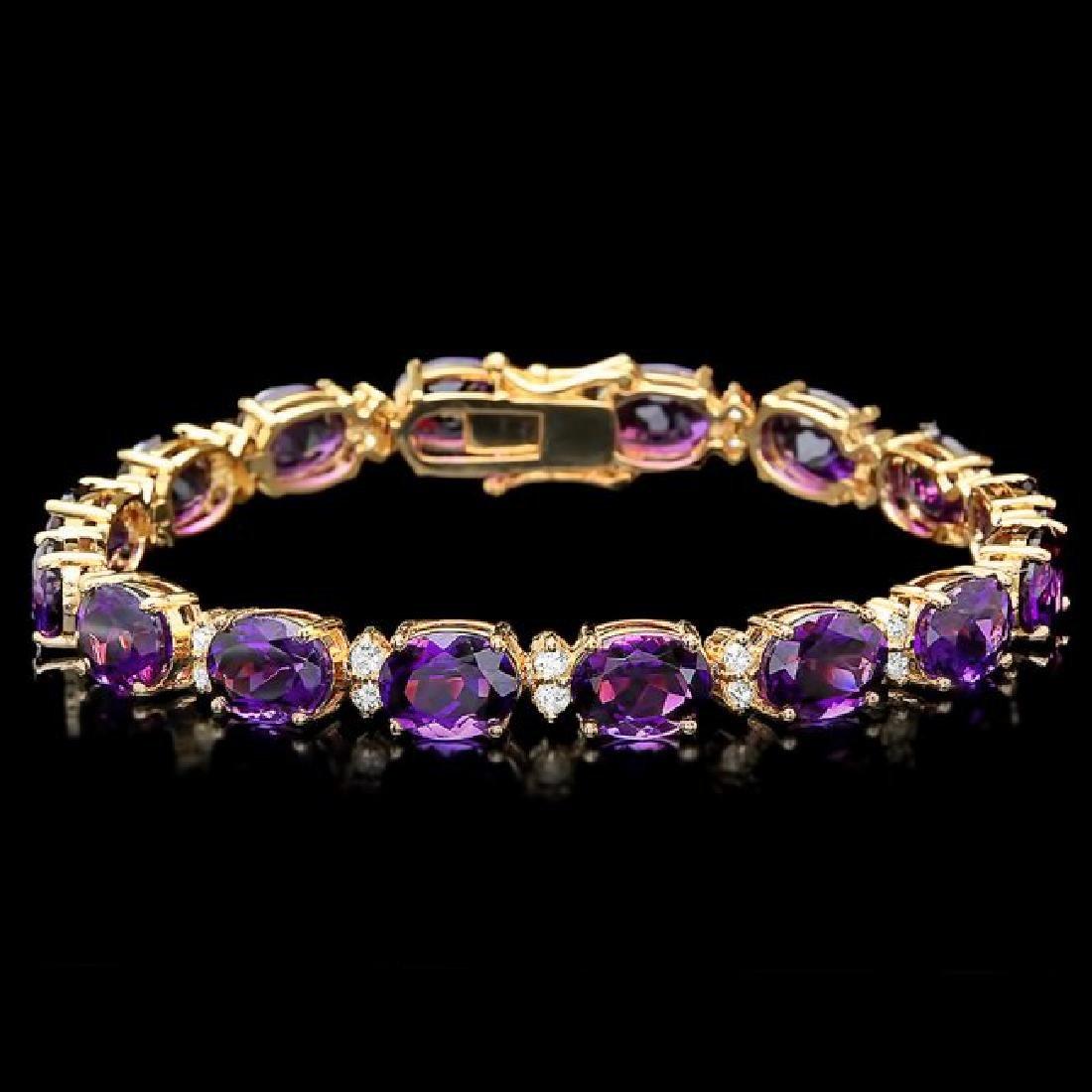 14k Gold 29.00ct Amethyst 1.30ct Diamond Bracelet