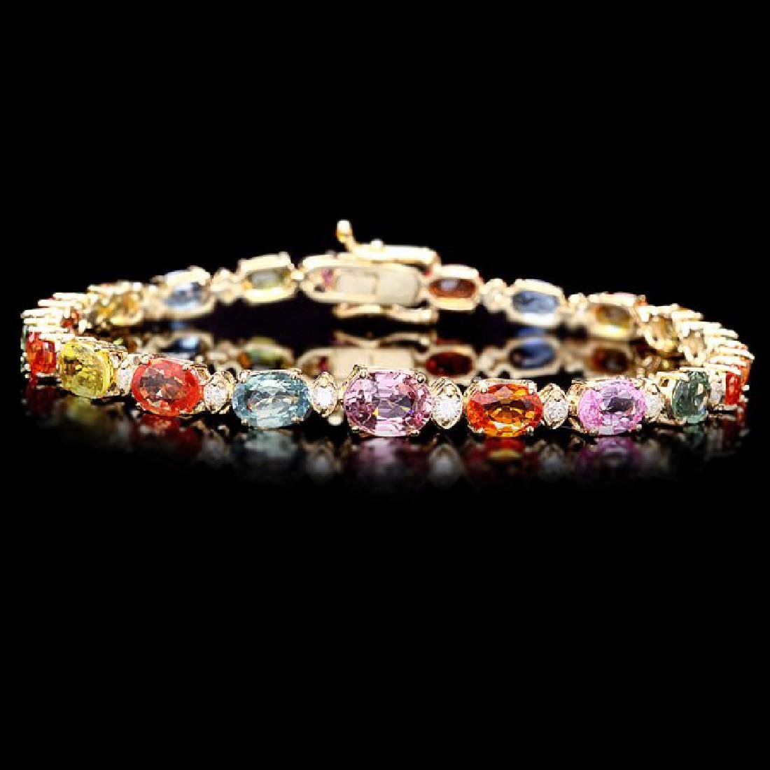 14k Gold 14ct Sapphire 0.50ct Diamond Bracelet