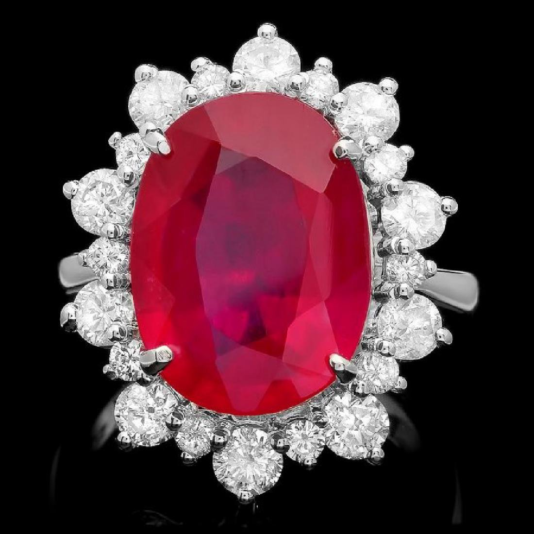 14k White Gold 11.50ct Ruby 2.00ct Diamond Ring