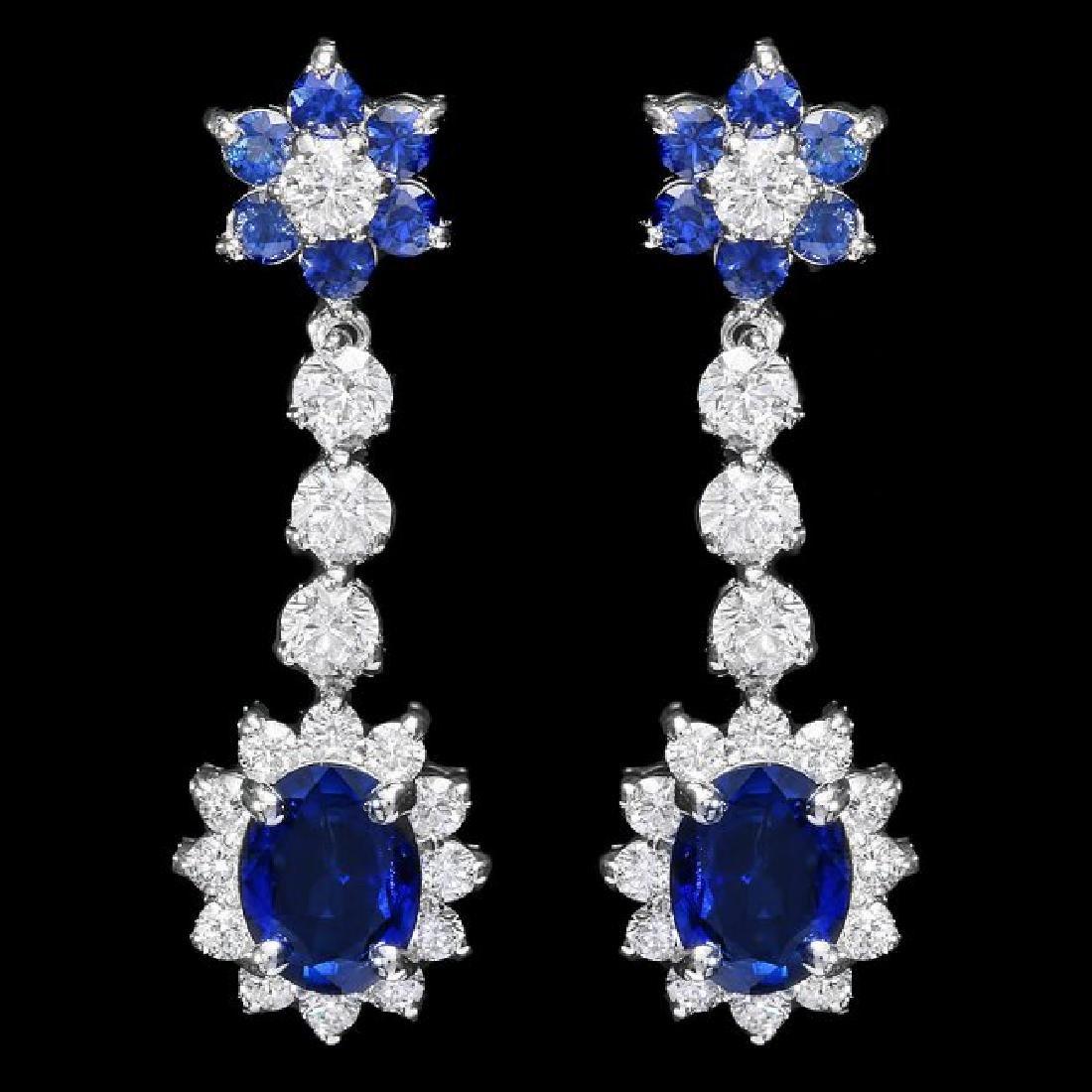 14k Gold 3.85ct Sapphire 2ct Diamond Earrings
