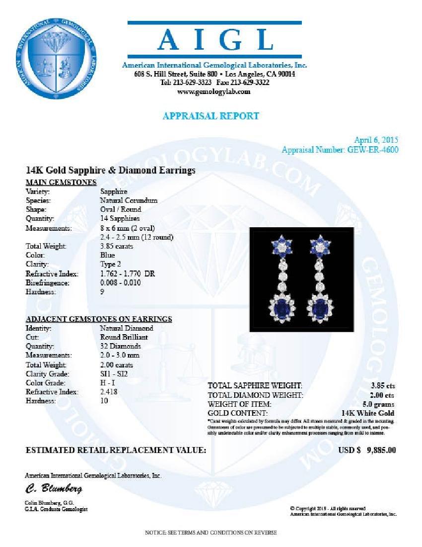 14k Gold 3.85ct Sapphire 2ct Diamond Earrings - 3
