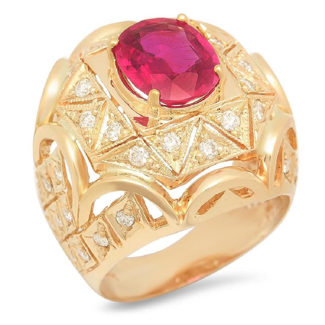 14K Gold 3.81ct Ruby 1.05cts Diamond Ring