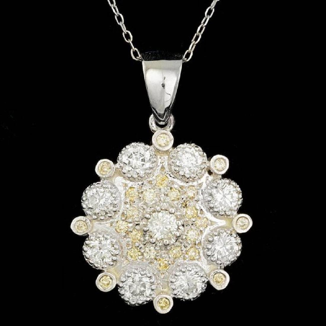 14k White Gold 2.1ct Diamond Pendant