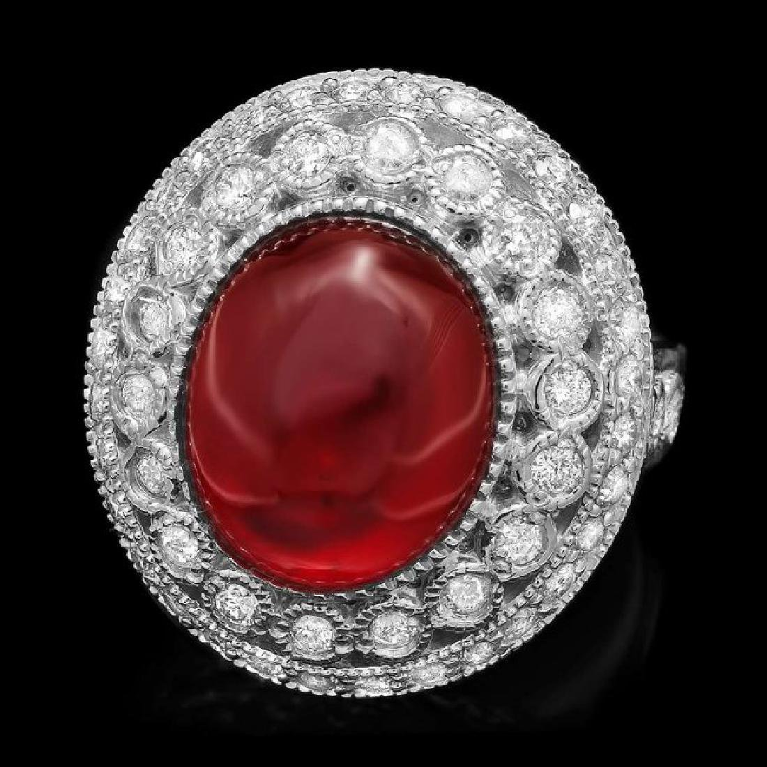 14k White Gold 10.00ct Ruby 1.25ct Diamond Ring