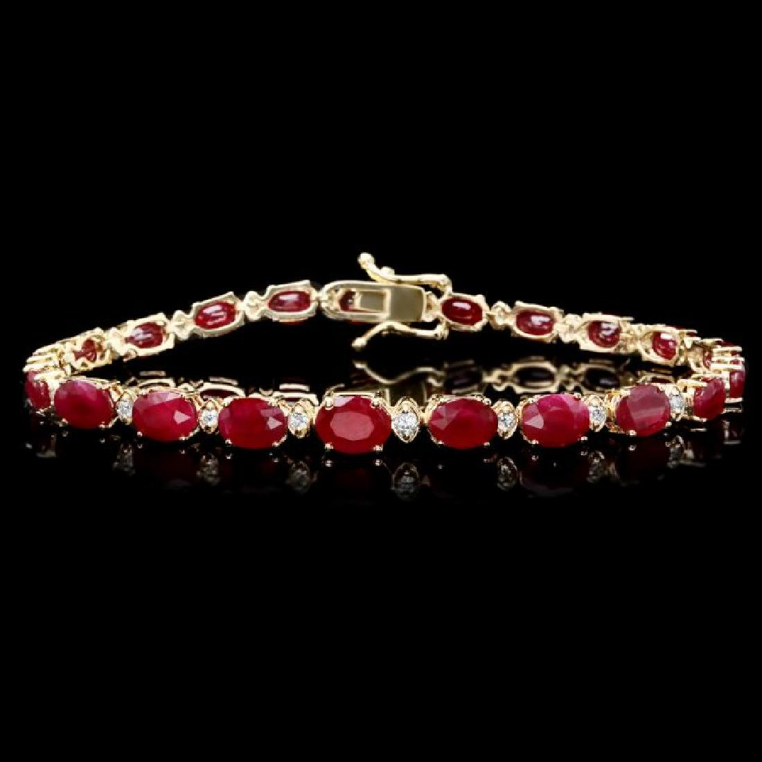 14k Gold 16.00ct Ruby 0.55ct Diamond Bracelet