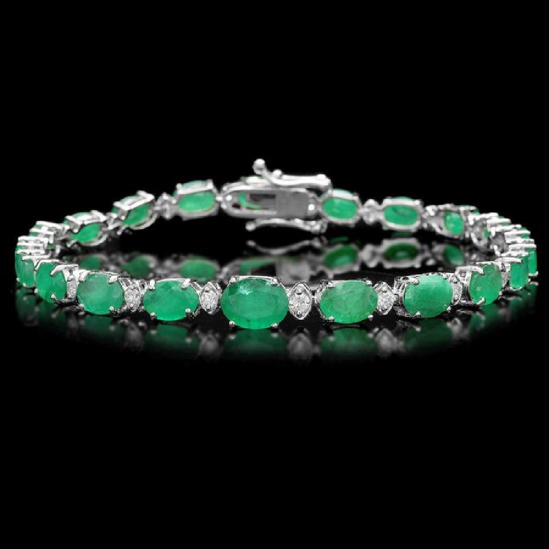 14k Gold 11.50ct Emerald 0.65ct Diamond Bracelet