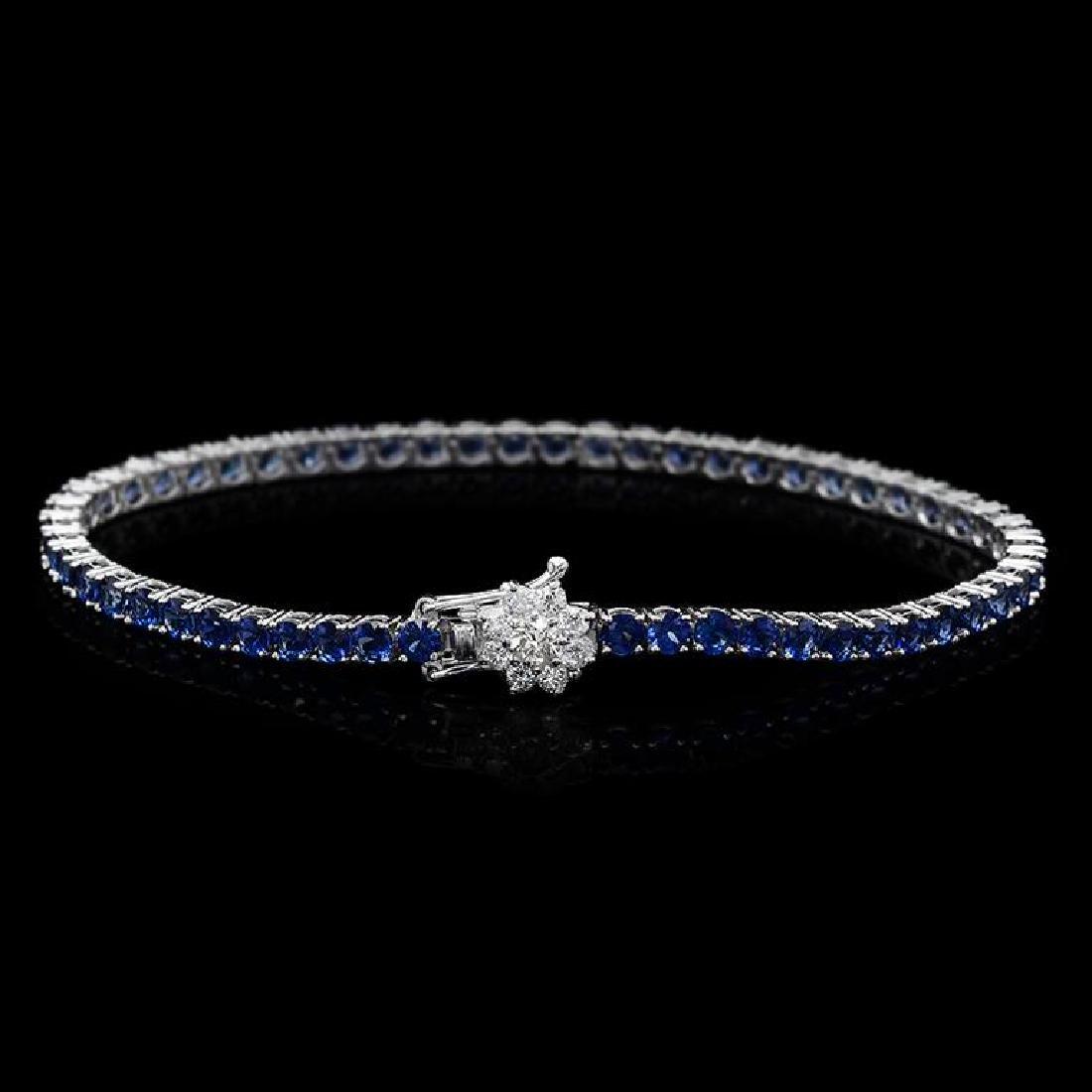 14K Gold 7.11ct Sapphire 0.57ct Diamond Bracelet