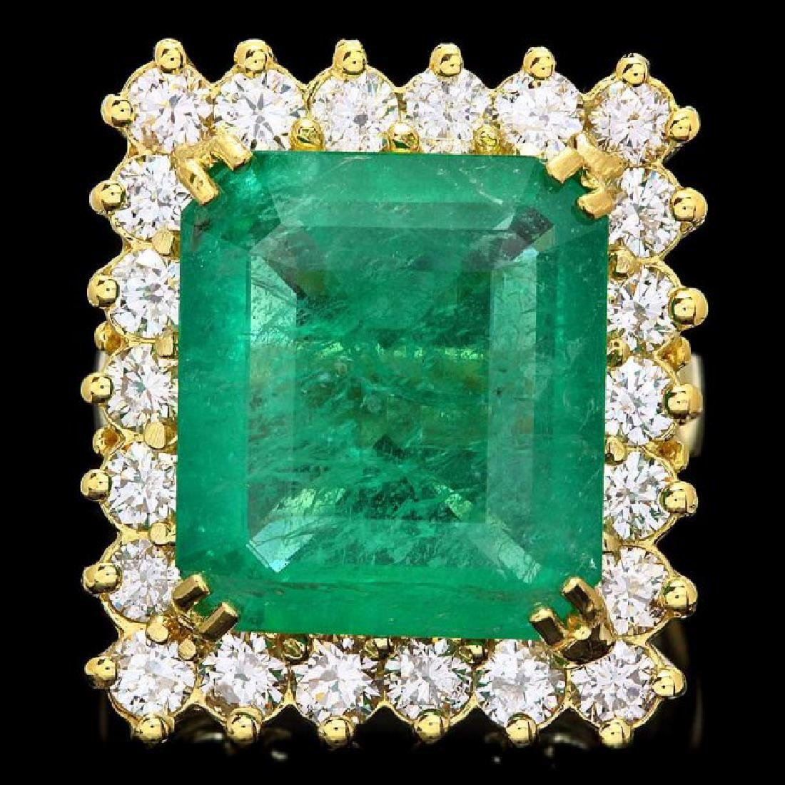 18k Gold 9.00ct Emerald 2.40ct Diamond Ring
