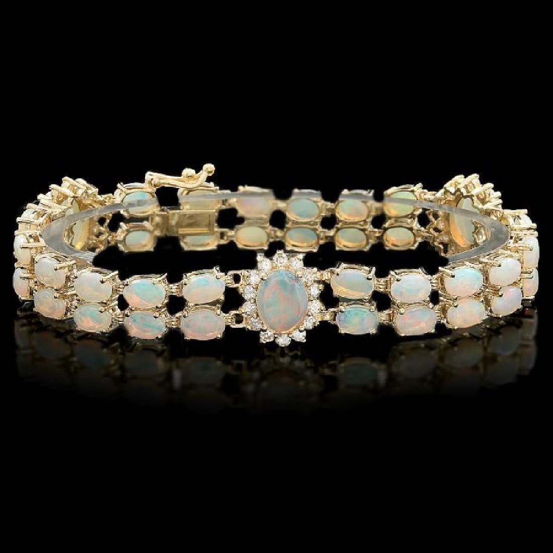 14k Yellow Gold 12ct Opal 1.35ct Diamond Bracelet