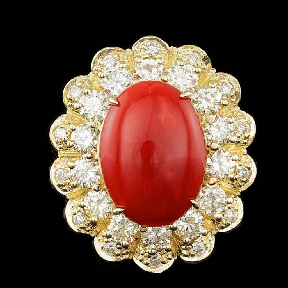 14k Yellow Gold 5.00ct Coral 1.80ct Diamond Ring