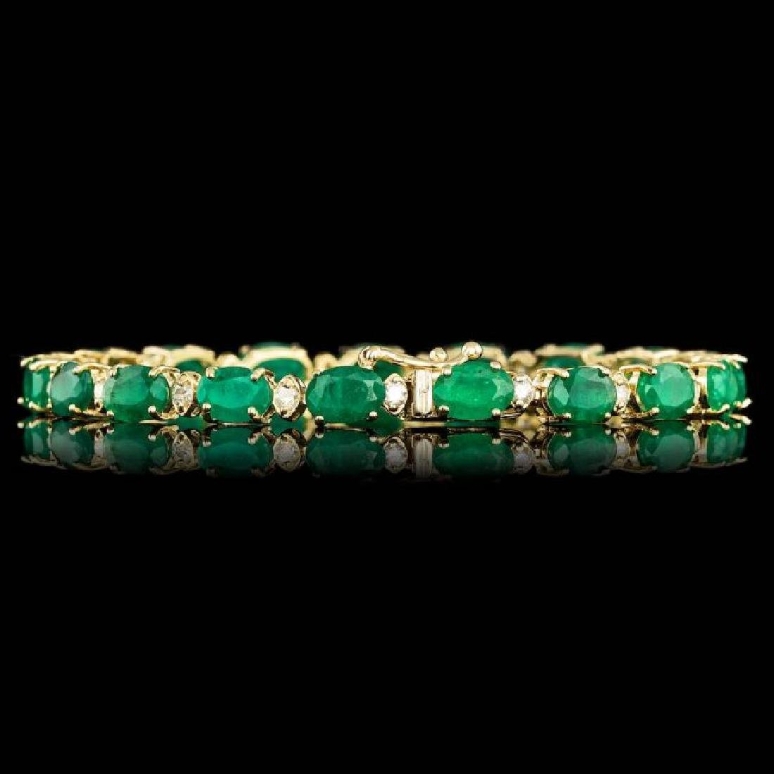 14k Gold 14.00ct Emerald 1.00ct Diamond Bracelet