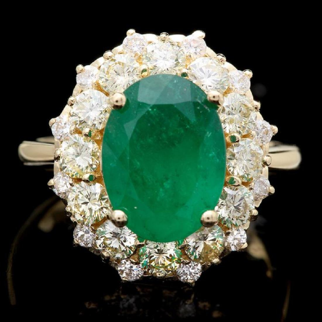 14k Gold 3.70ct Emerald 1.70ct Diamond Ring