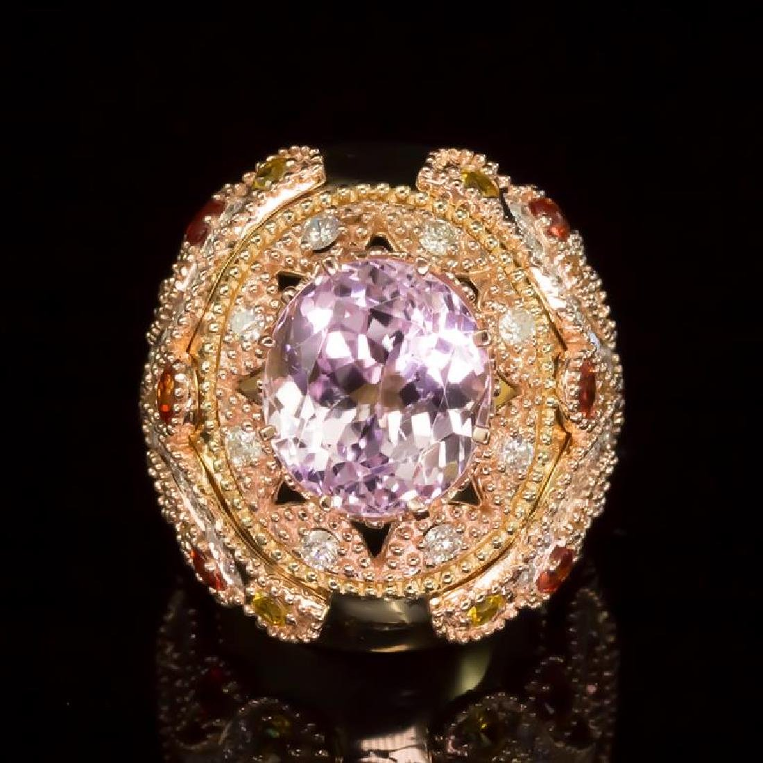 14K Gold 14.78ct Kunzite, 1.40ct Orange Sapphire 1.52ct